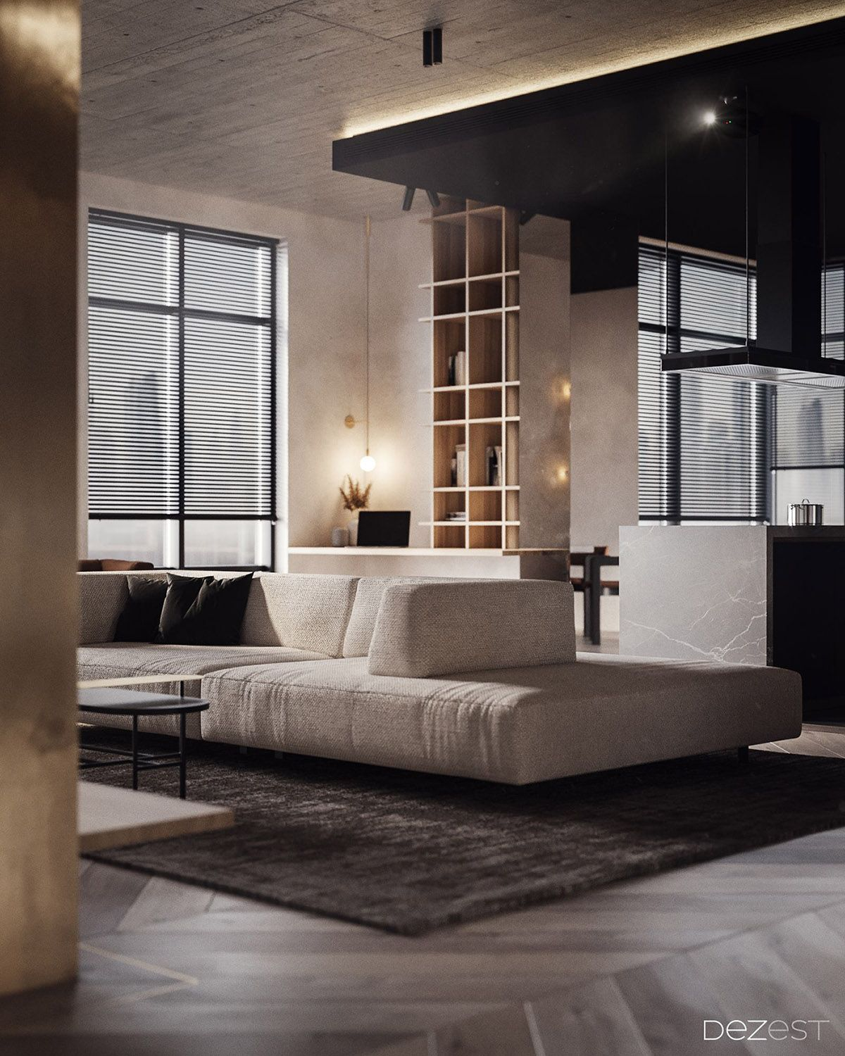 5 Living Rooms That Demonstrate Stylish Modern Design Trends: Dark, Warm & Welcoming Apartment