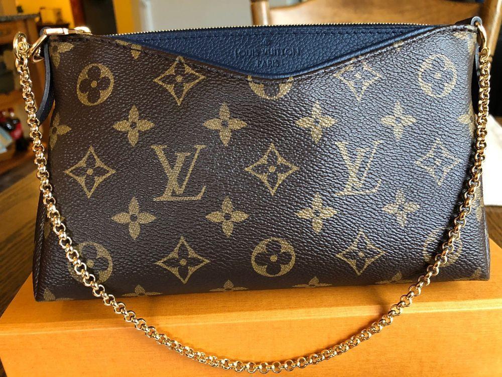 b04caca9d Auth BNIB Louis Vuitton Pallas Clutch Chain Marine Blue Monogram Bag  Pochette