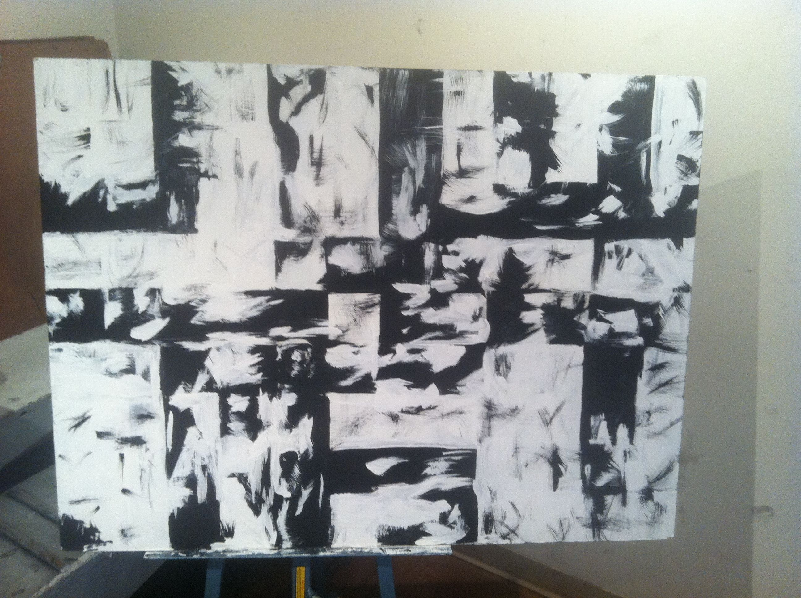 Black and White grid painting