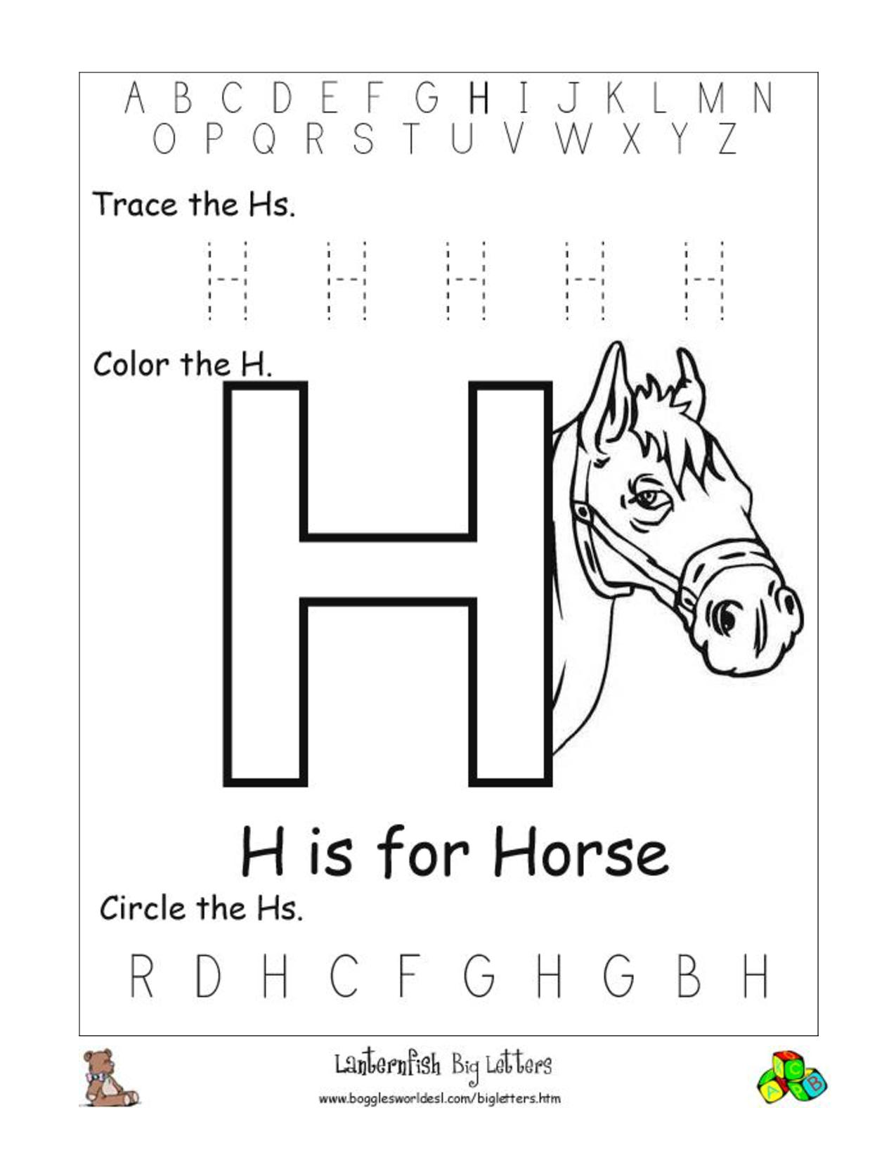 Alphabet Worksheets for Preschoolers activities