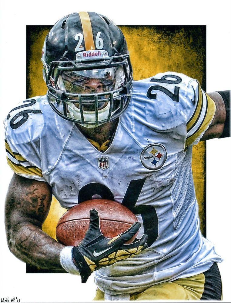 Le Veon Bell Steelers By Jeff Lang Nfl Football Art Sports Art Football Art