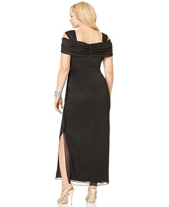 alex evenings plus size dress, cold shoulder empire waist evening