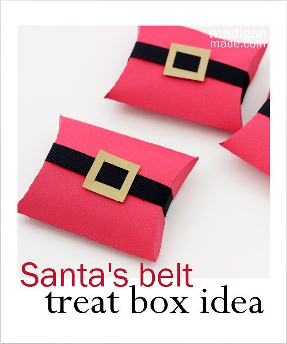 Simple Christmas treat packaging idea - Santa\u0027s belt pillow boxes