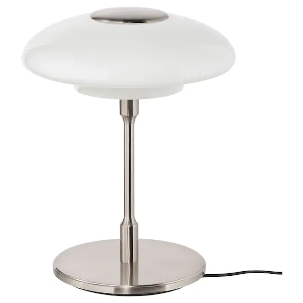 Tallbyn Lampe De Table Nickele Opalin Verre 40 Cm Ikea In 2020 Lamp White Glass Table Lamp