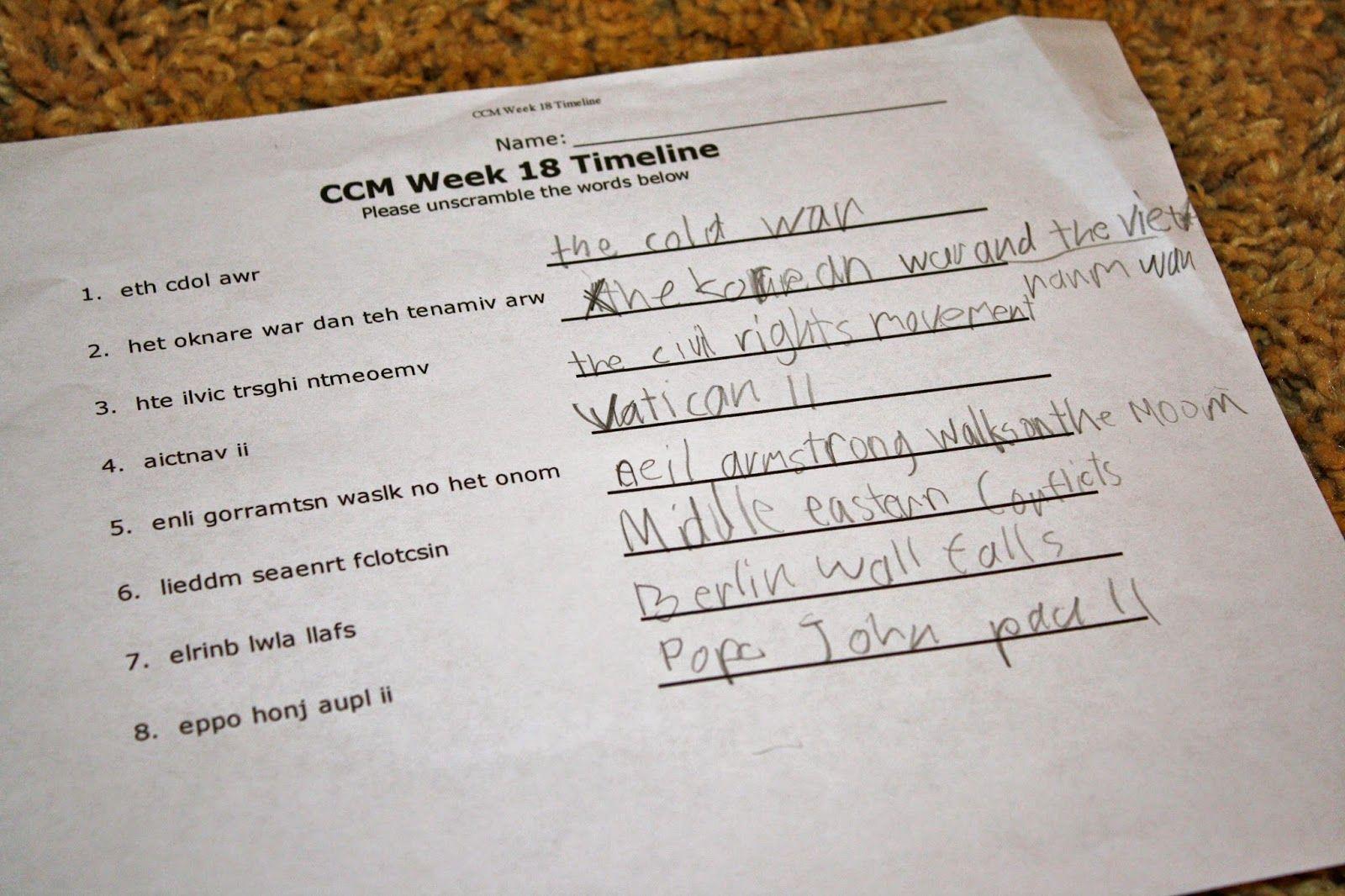 Ccm Timeline Activity Timeline Word Scramble Catholic