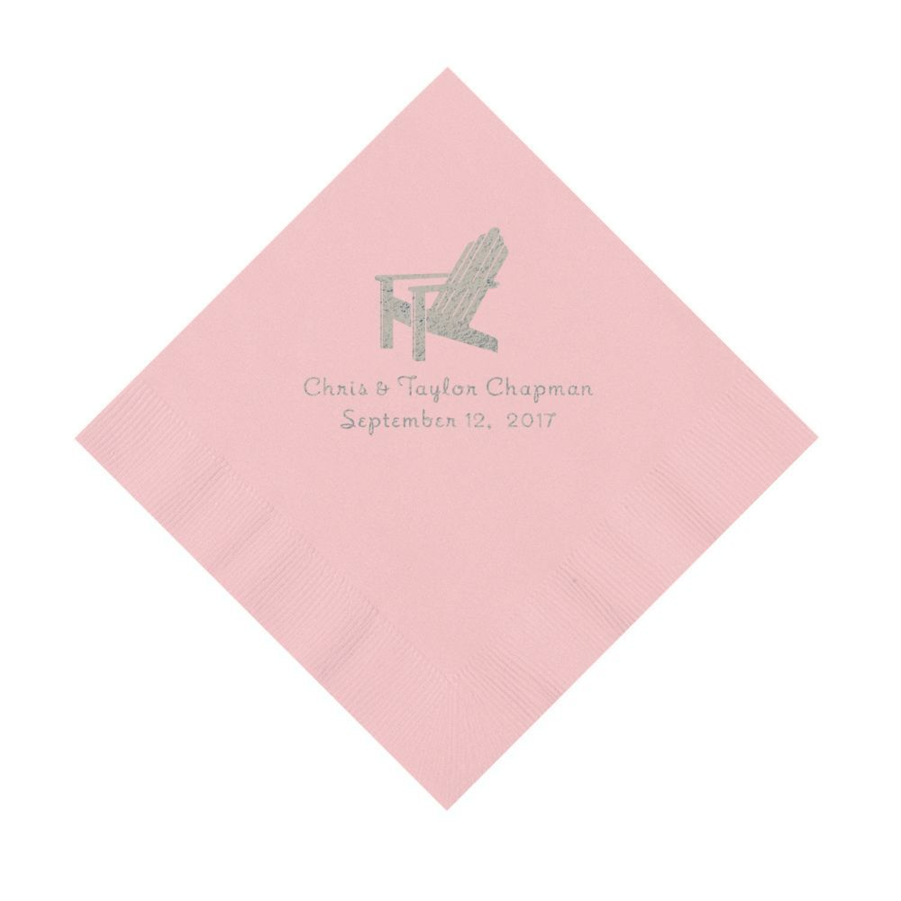 Pink Beach Chair Personalized Napkins with Silver Foil - Luncheon