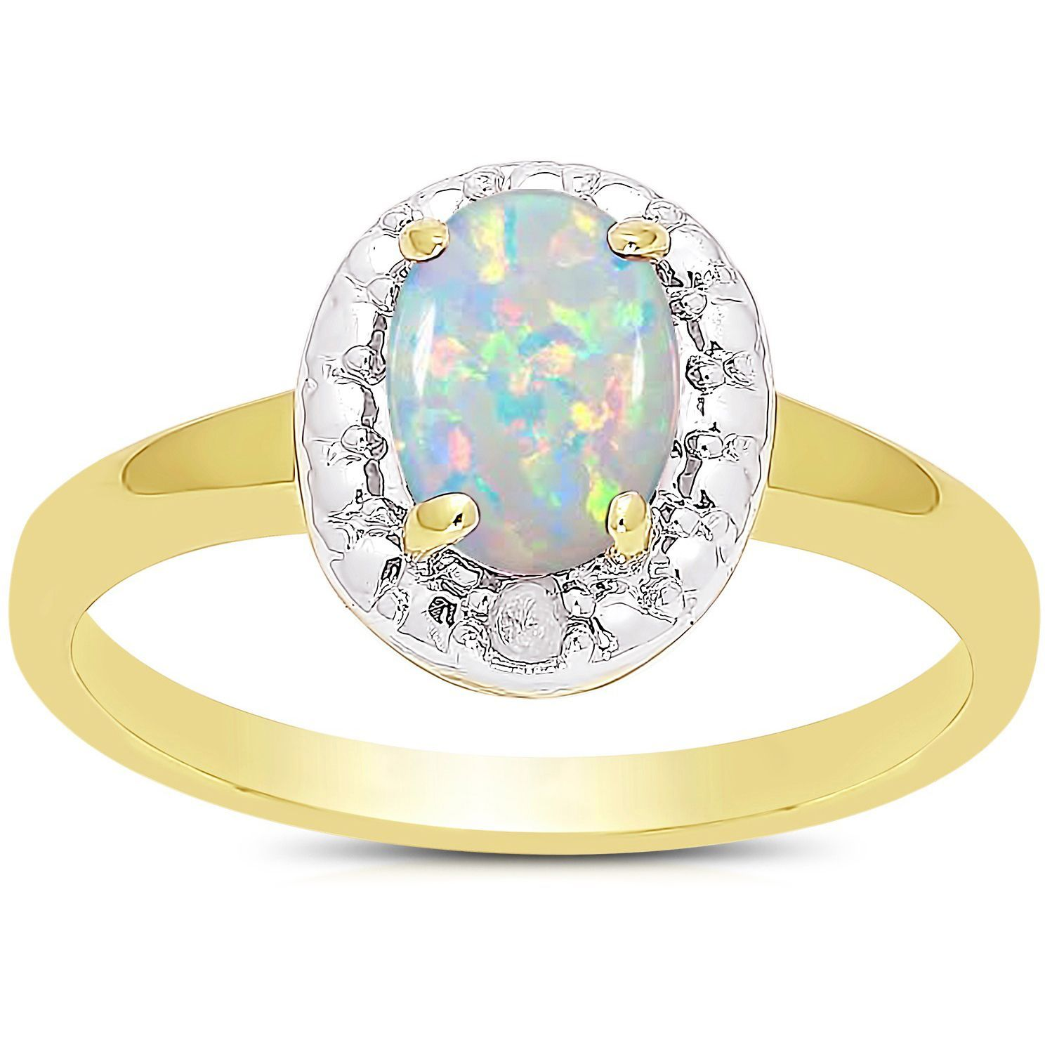 Dolce Giavonna 14k Gold Overlay Birthstone and Diamond Ring (October / Opal - Size 7), Adult Unisex, White