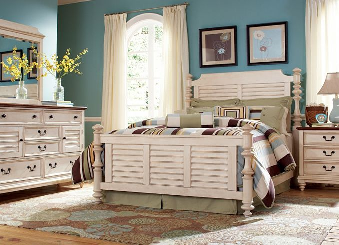 Bedroom Furniture Southport Queen Panel Bed - Distressed White