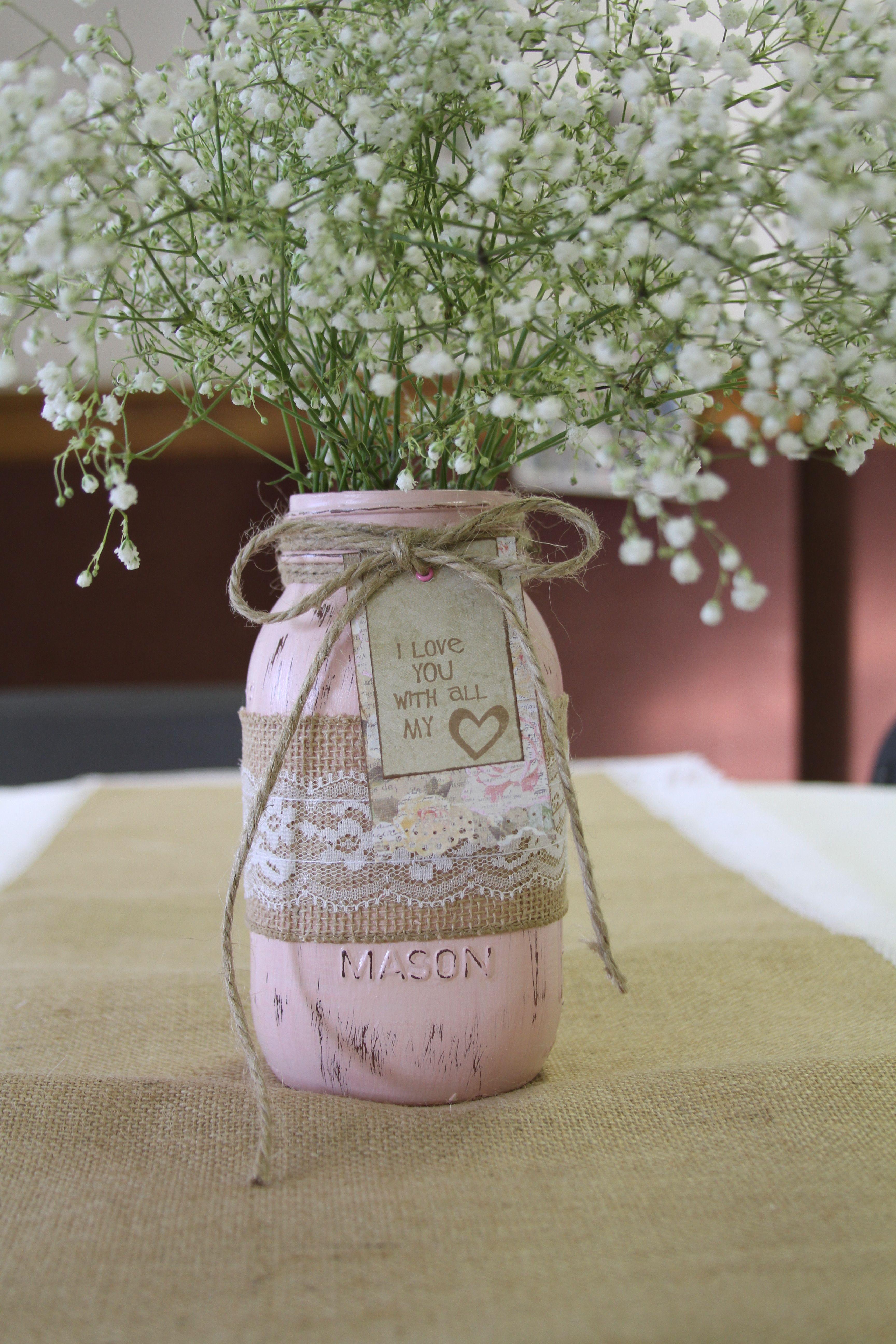 rustic wedding shower centerpiece chalk paint mason jar burlap and lace runner and fresh babys breath