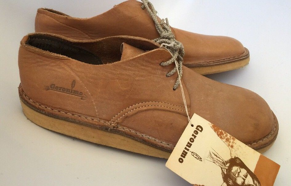 7706e533150ad5 Padrino - Geronimo 1970 s Unbelievable old stock find- brand new unused  shoes with tag-- Natural leather lace up uppers with crepe rubber soles.