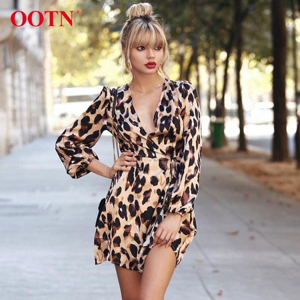 1ccffd42439da OOTN Leopard Print Women Dress Sexy Wrap Mini Dresses Long Sleeve ...