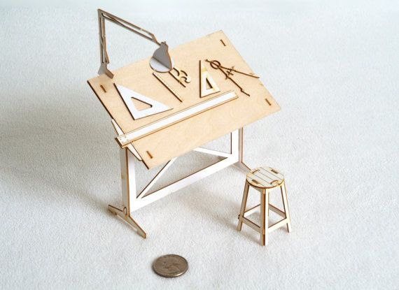 Miniature Drafting Table Model Kit With Real Wood Tabletop