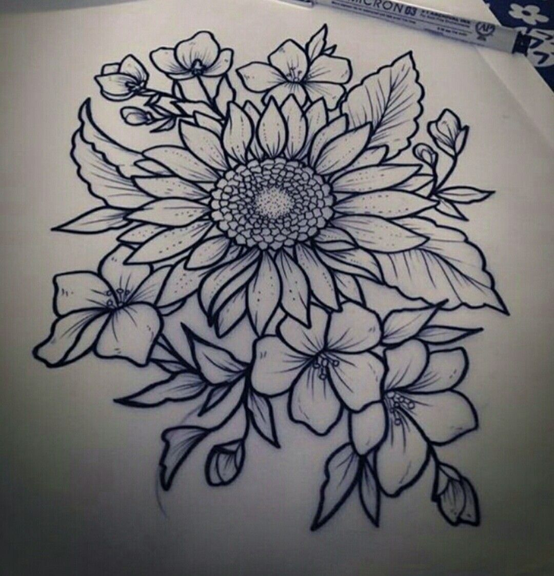 Sunflower drawing Inspirational tattoos, Flower tattoo