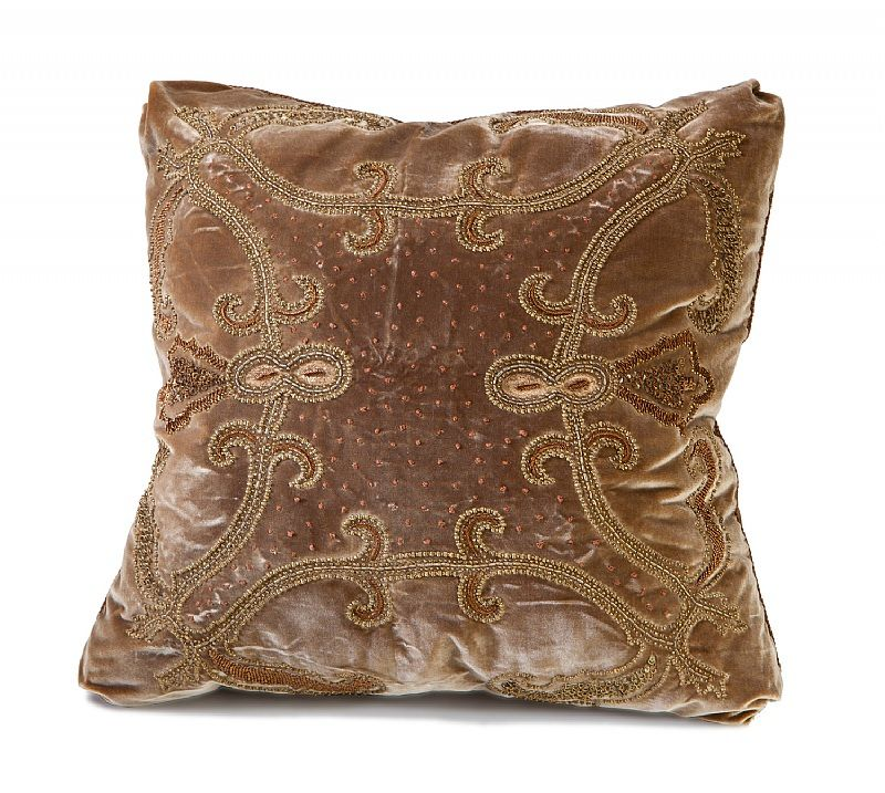 Ebanista Embroidered And Hand Beaded Pillow On Silk Velvet With Impressive Decorative Cording For Pillows