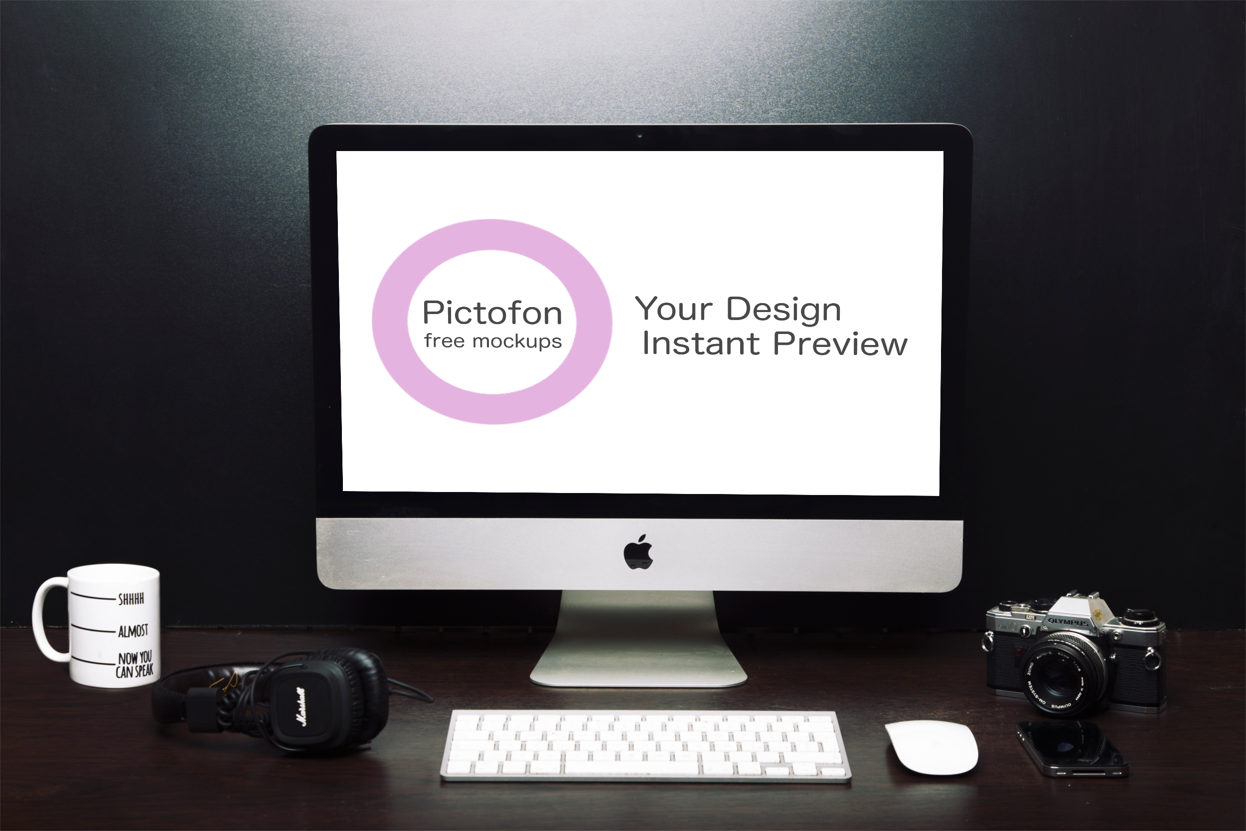 New iMac mockup with instant preview of your design on
