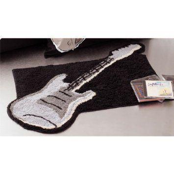 Amazon Com Guitar Shaped Black Rug Bath Mat Room Music