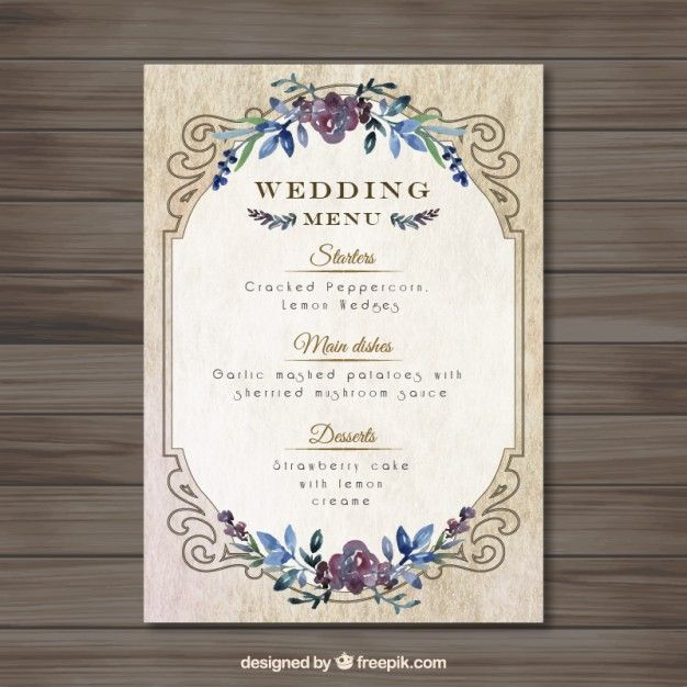 mariage Vintag modèle de menu Wedding menu template, Menu - wedding menu template