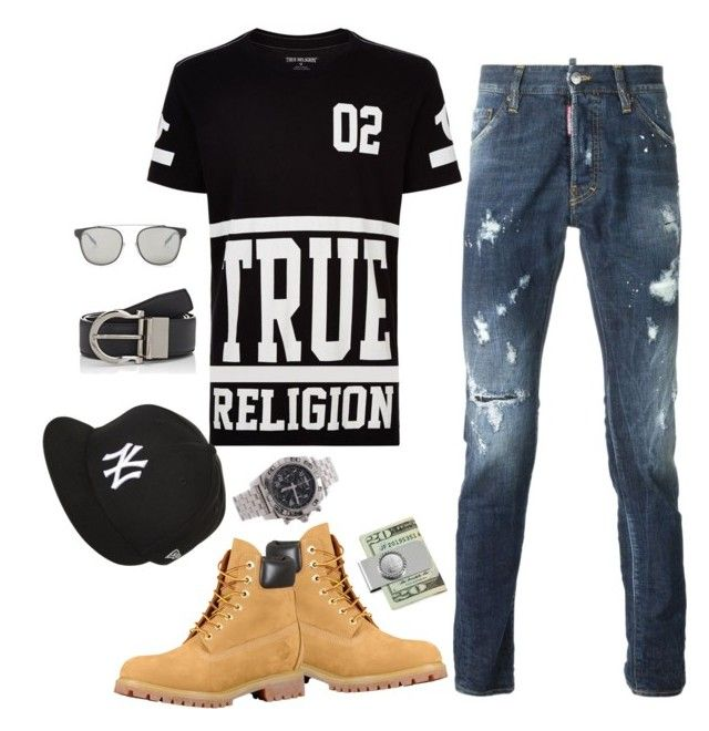 """Untitled #6306"" by tailichuns on Polyvore featuring True Religion, Dsquared2, New Era, American Coin Treasures, Breitling, Salvatore Ferragamo, Dior Homme, men's fashion and menswear"