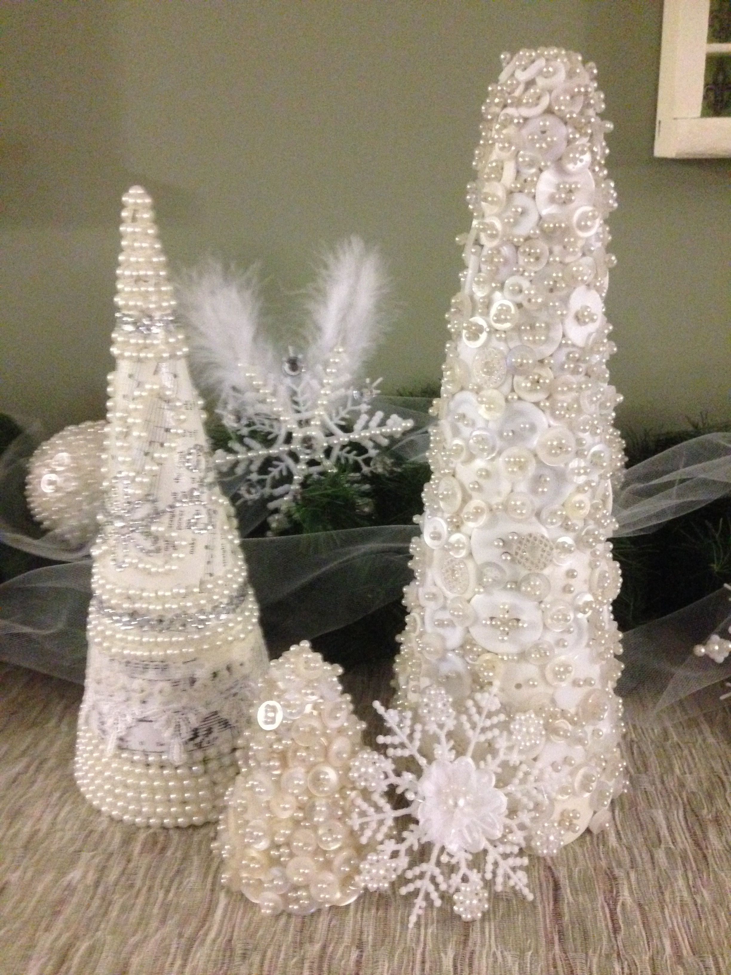 Button trees - Styrofoam tree forms from Michaels covered in pearly