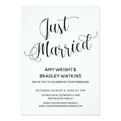 Just Married Typography Post Wedding Reception Card Script Gifts