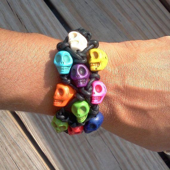 colorful skull bracelet,so great!