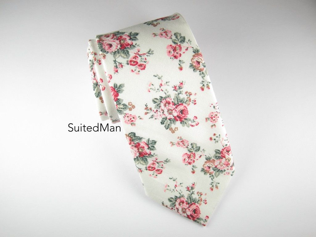 Floral Tie, White Vintage Bloom