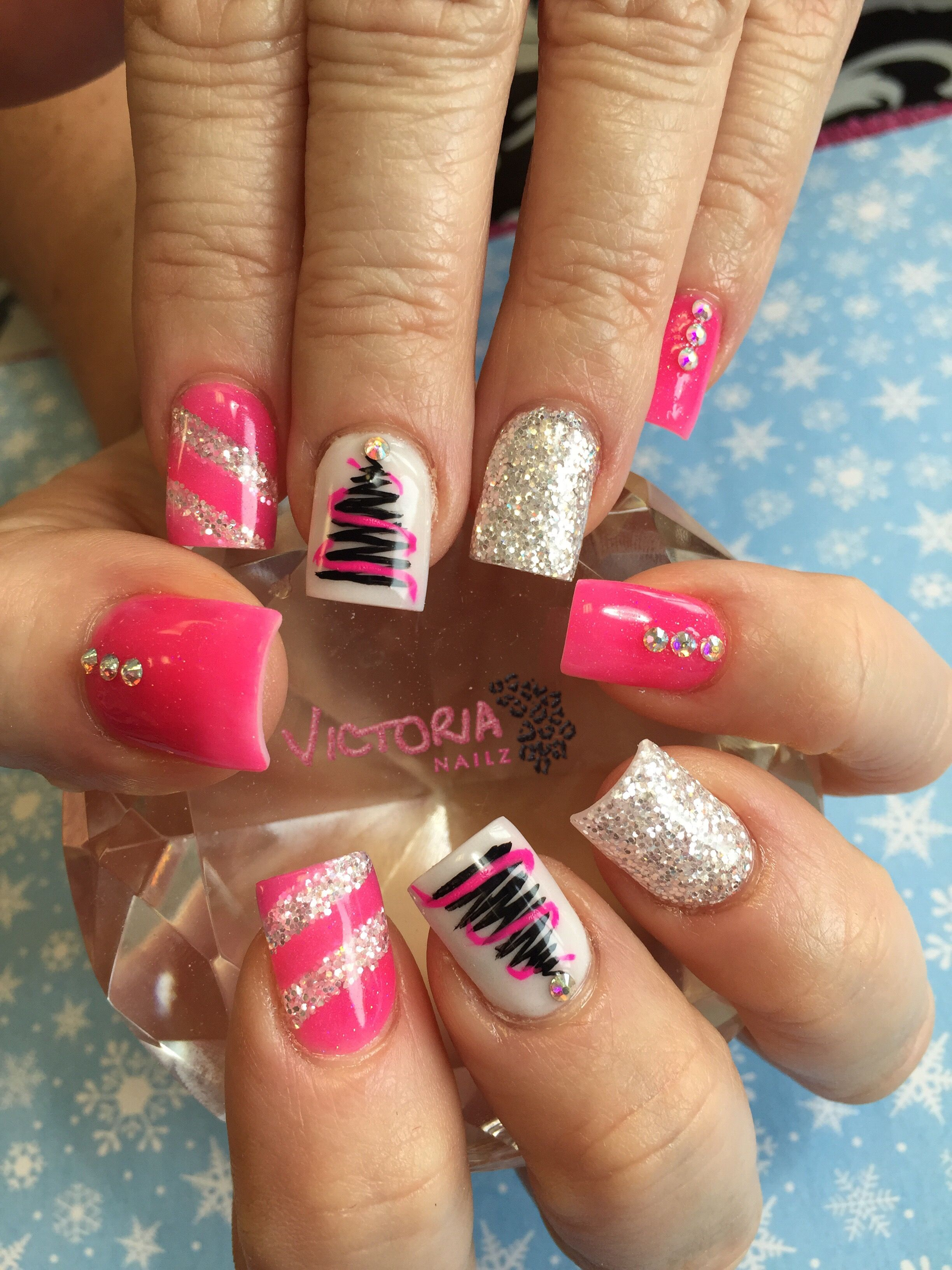 Pink Christmas nails! Hand painted Christmas tree with Swarovski ...