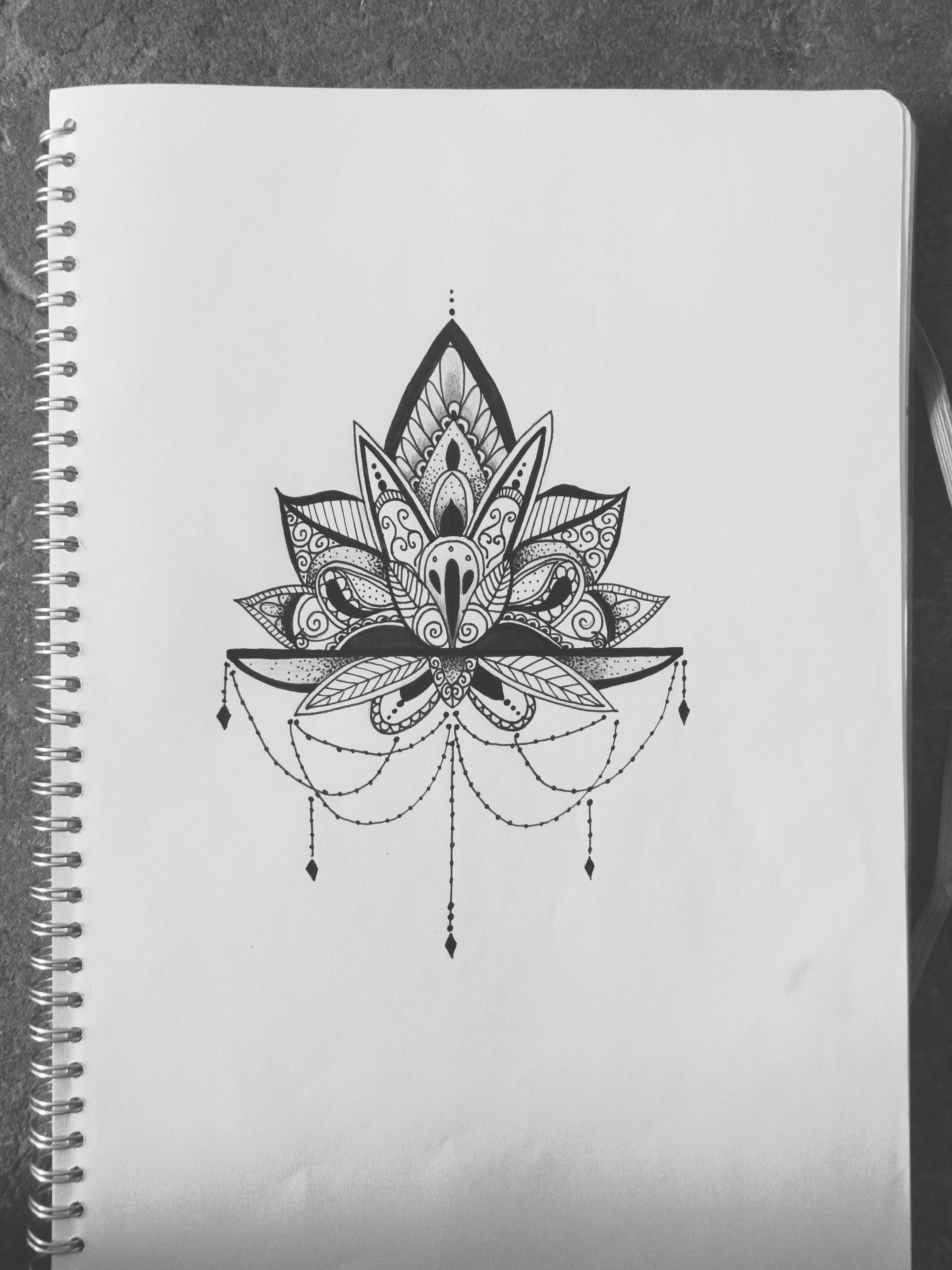 lotus mandala tattoo design illustration.