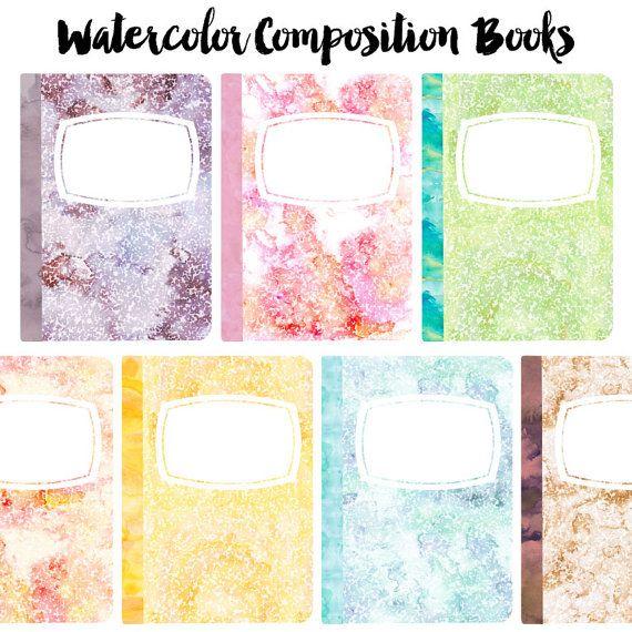 Pastel Watercolor Composition Book Clip Art Set By PaulaKimStudio