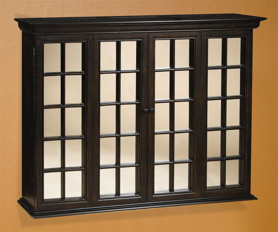Lcd Tv Wall Cabinet W Clear Mirror Shutters In Antique