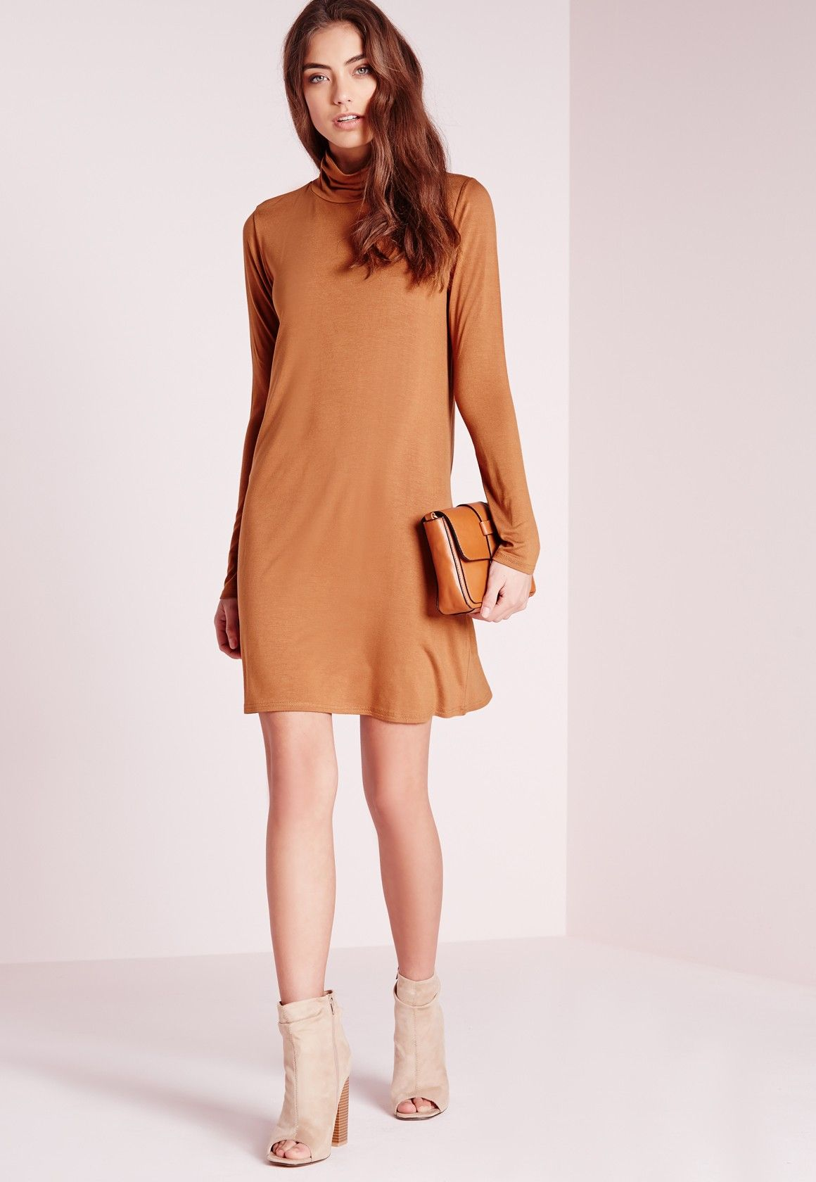 Missguided roll neck jersey swing dress rust us style girl