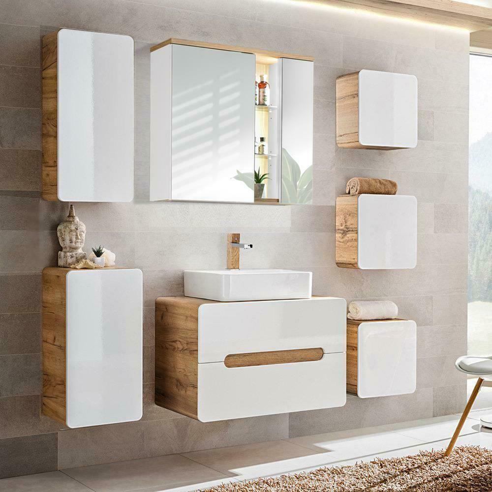 Badezimmer Badmobel Komplett Set Hochglanz Weiss Keramik Waschbecken Waschtisch In 2020 Badezimmer Set Badezimmer Komplett Weiss