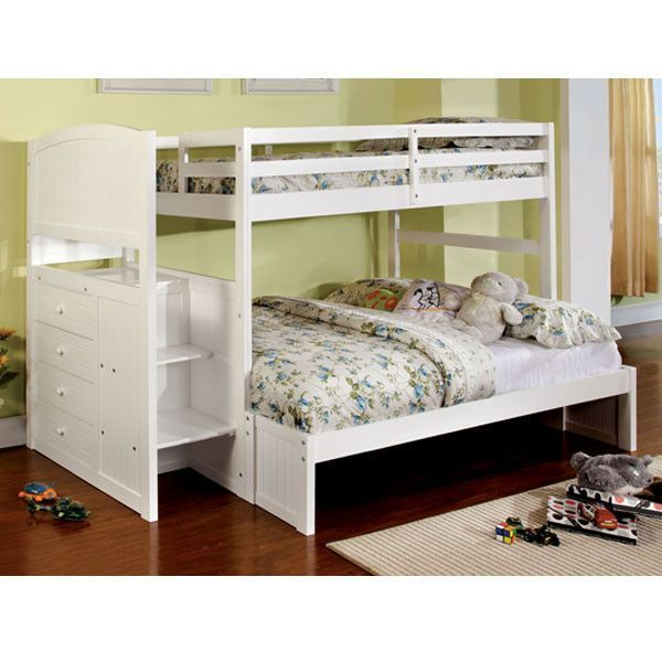 White Finish Twin & Full Dual Size Bunk Bed With Side Storage Drawers