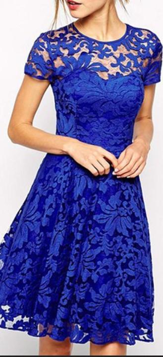 Hote sale Sexy A-line Bridesmaid Dresses Party Dresses Cocktail dress ROYAL  blue LACE Mini