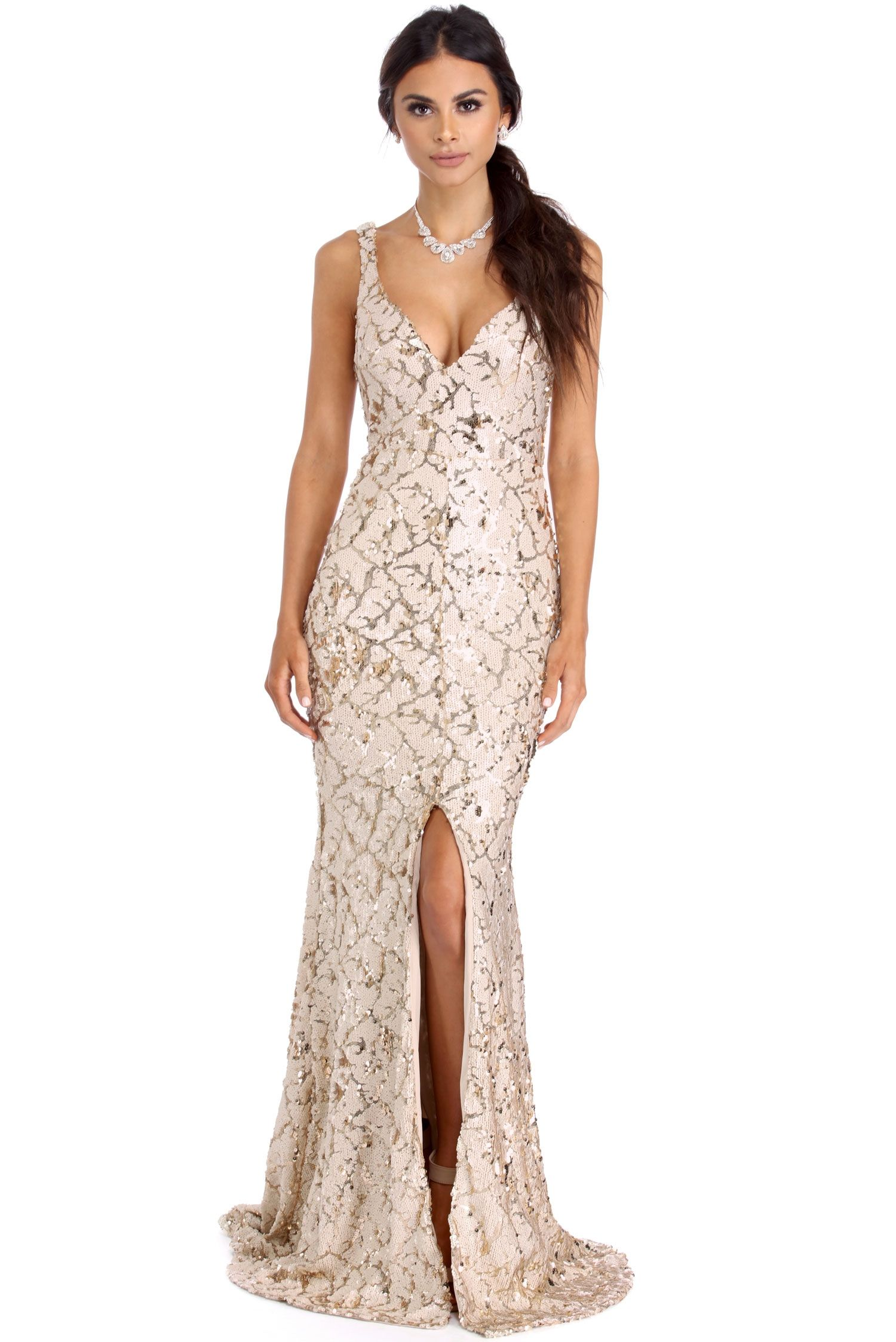 Marianne Ivory Sparkling Sequin Dress | windsor | Zain & Bijan E ...
