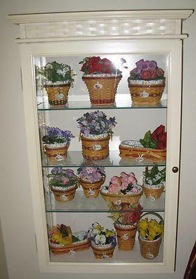 LONGABERGER Display Wall Cabinet &14 Collector Club Miniature Mini ...