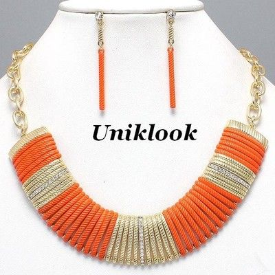 Glam Up NEON Tango Orange Clear Crystal Gold Collar Choker Necklace Earring Set