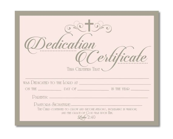 Baby Dedication Certificate – Baby Dedication Certificates Templates