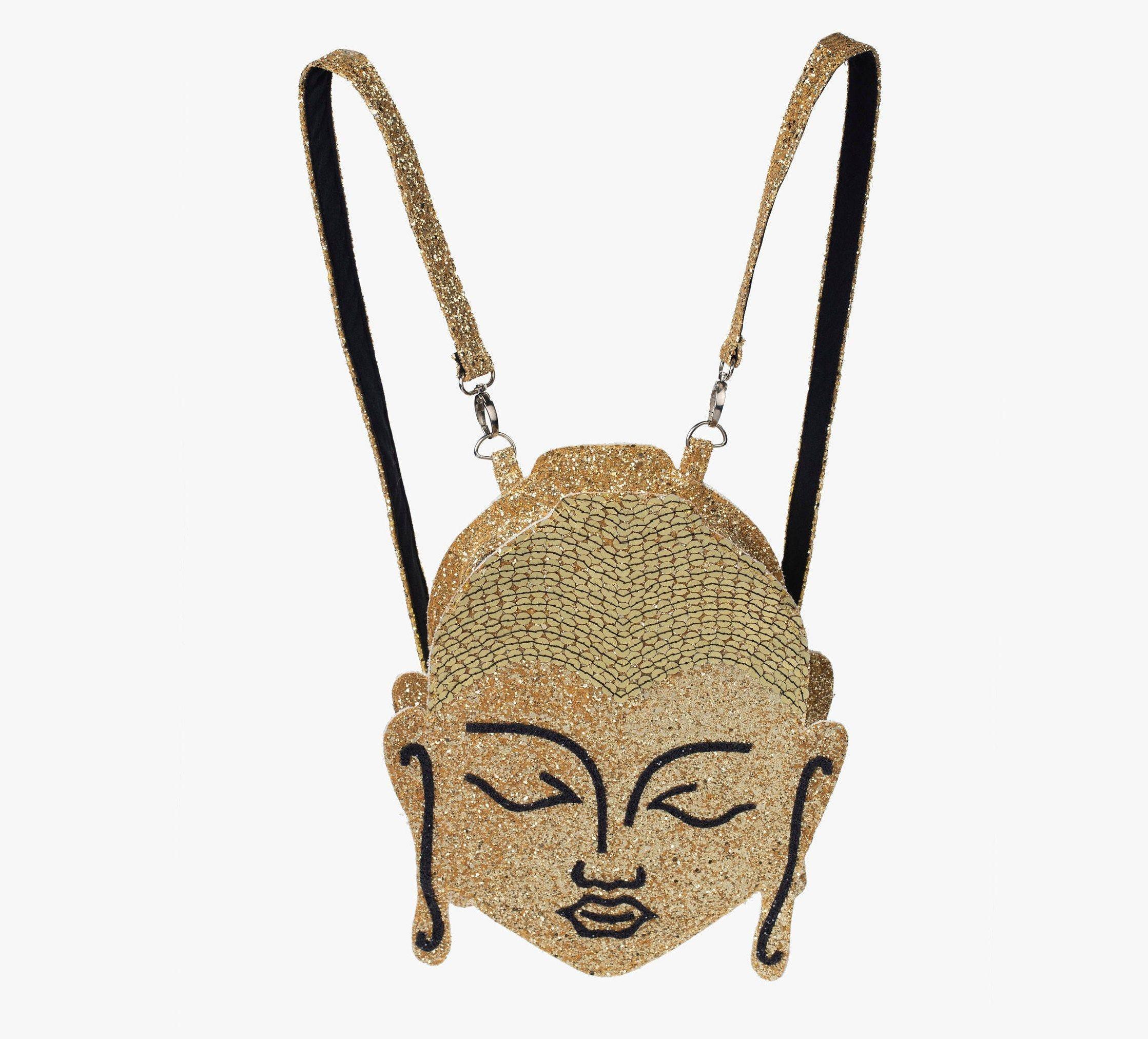 Buddha Glitter Backpack, Festival Bag, Unique Gift, Yoga Bag, Gold Buddha, Custom Backpack, Yoga Gift, Mini Backpack, Yoga Art, Vegan Bag