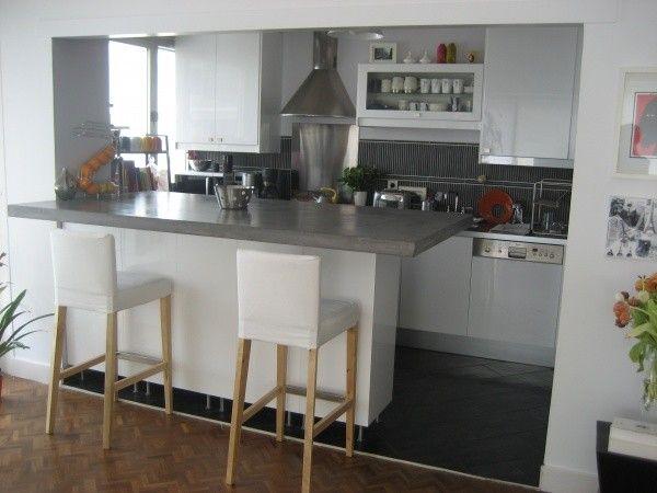 Cuisine ouverte grise et blanche cuisine cuisine ouverte cuisine ouverte ilot et cuisine - Cuisine ouverte ilot ...