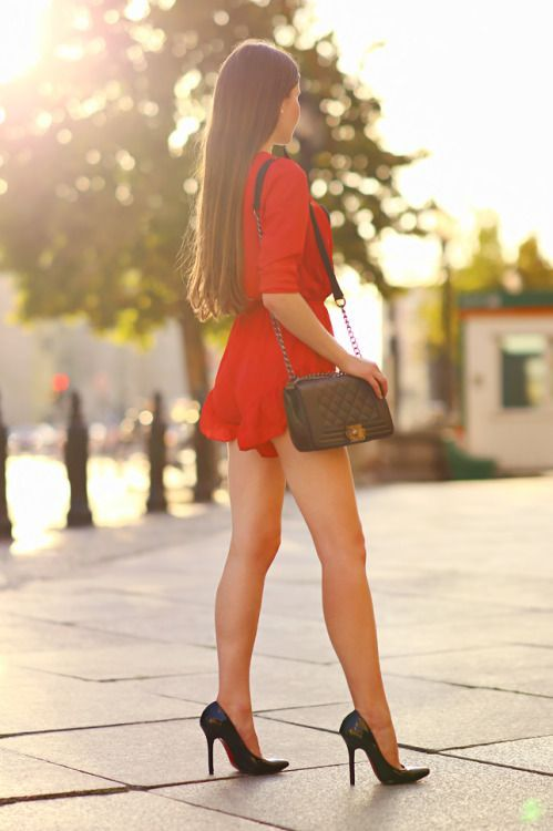 e3cb31bde23 greatlegsandhighheels  Sexy legs in a red romper and stilettos Nice!