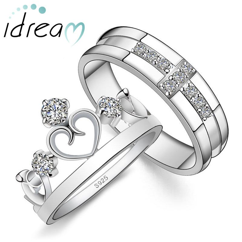 cubic zirconia diamond cross wedding band heart crown engagement ring set platinum plated - Cross Wedding Rings