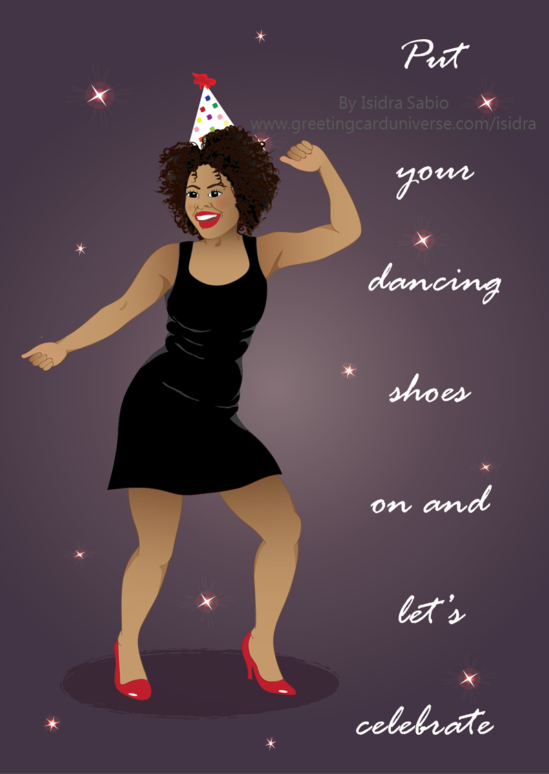 Birthday for women women in red dress dancing under the stars card