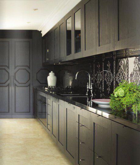 Metal Black Kitchen Cabinets: Black Tin Backsplash In Kitchen Cabinets Metal Tiles