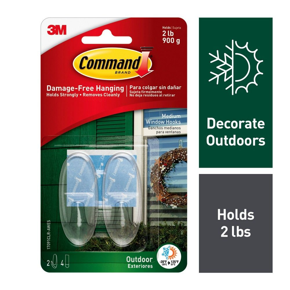 Command Medium Sized Outdoor Window Decorative Hooks With Strips Clear Clear Windows Hook Command Strips