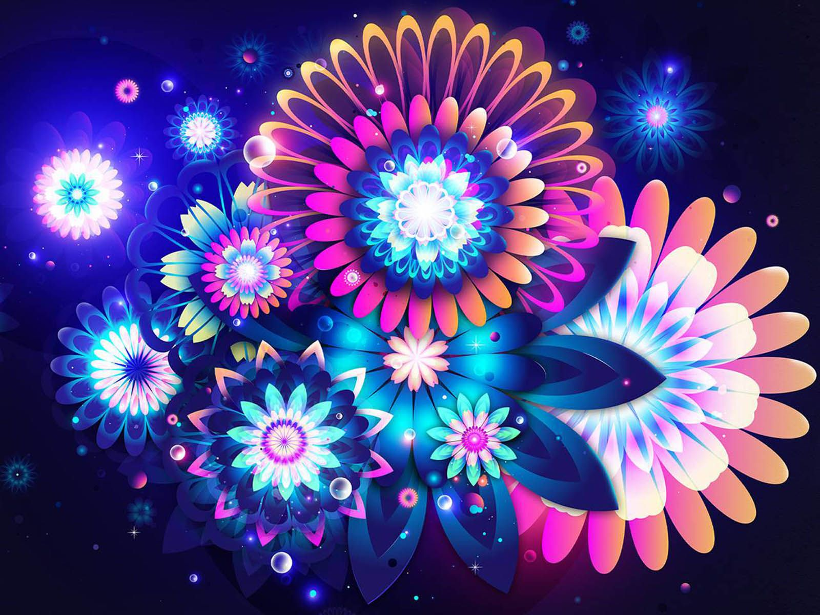 Abstract Digital Flowers Art Wallpaper
