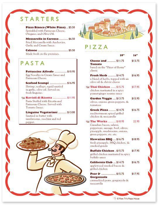 4dcd6fbc25f2f09999f19885028fc4b1jpg 540×699 píxeles Pizzería - italian menu
