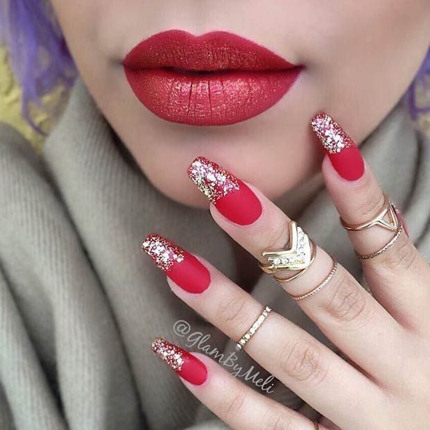 Matte Red and Gold Glitter Nail Art Design for Holidays - 31 Snazzy New Year's Eve Nail Designs Pinterest Gold Glitter