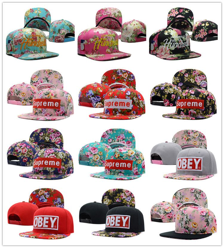 016815e4ea3 1 PC Hot NEW The Hundreds Supreme floral Snapback Cap Men Basketball Hip  Pop Baseball Cap Adjustable Flower Snapback hat