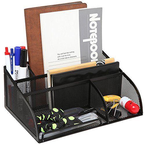 Nice Black Metal Mesh 5 Compartment Office Supply Caddy Pen Pencil Holder Desk Organizer Storage Rack